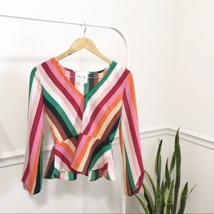 Sadie & Sage | Rainbow Striped Peplum Blouse S